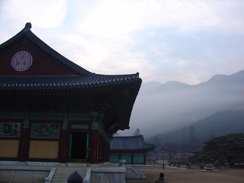 A temple in mountain mist